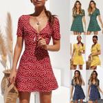 Vintage Boho Maxi Evening Party Beach Mini Dress Floral Sundress