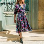 New Spring Floral Print Casual Loose Long Sleeve Midi Shirt Dress