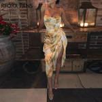 Print Spaghetti Strap High Slit Ruched Dress