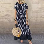Plus Size Boho Two Pieces Short Sleeve Polka Dot Printed Long Dresses
