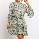 Floral Print  Sleeve Ruffles  Boho Beach Chiffon Mini Dresses