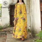 New Vintage Maxi Floral Plus Size Long Sleeves Pockets O Neck Cotton  Dresses