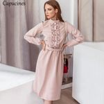 Pink Vintage Stand Collar Ruffle Trim Solid Sashes Long Sleeve Dresses