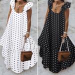 Leopard Sundress Bohemian Polka Printed Maxi Dress