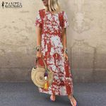 Printed Maxi Sundress Casual Short Sleeve Vestidos
