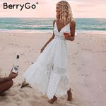 White pearls Hollow out embroidery maxi cotton dresses