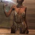 Sexy Chain Silver Rhinestone Tassel Sequins Sparkling Party Dress