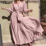 Ruffles Sexy V neck Long Maxi Puff Sleeve Sashes Solid Casual Loose