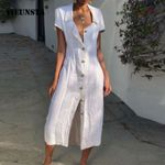 Casual Loose V-Neck Button Split Hem Long Dress