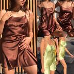 Sexy Satin Silk Slip Beach Solid Short Mini Sleeveless Sling Dresses