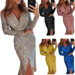 Sexy Golid Silver Glitter  Deep V Neck Sequin Midi Bodycon Dress