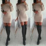 casual Off Shoulder solid Long Sleeve Party cotton Bodycon Mini Dresses