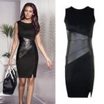 Fall Plus Size Party  Faux Leather Splice OL Black Pencil Dress