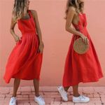 Boho Strappy Long Maxi Sexy Backless Party Red Dress