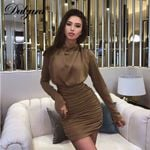 pleated mini bodycon elegant turtleneck package hip sexy office