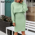 Elegant pieces knitted dress Solid bodycon sweater dress