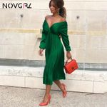 Elegant Fit And Flare Pleated Satin Dress