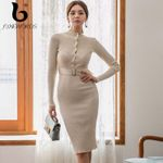 Sweater Knitting With Buttons Korean Office Lady Sheath Dress