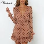 Polka Dot Sexy Party  With Ruffle Chiffon Long Sleeve Mini Dress
