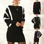 Sexy Sweater Knit Stripe Splicing Long Sleeve O-neck Casual Mini Dress