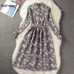 Elastic Waist Vintage A-line Style Sleeve Flower Plaid Print Dresses