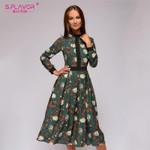patchwork printing A-line Spring vintage style vestidos  Midi dress