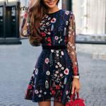 Sexy Floral Embroidery Sheer Mesh Boho Mini A-line Dress