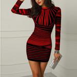 O-Neck Bodycon Striped Printed Zipper Party Evening Club Mini Dress