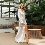 Shiny silver white satin robe plus size maxi sexy party long dress
