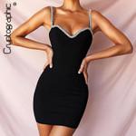 Diamond Fashion Statement Chain Sleeveless Mini Dresses