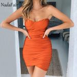 Strapless Wrap Sexy Ruched Backless Party Club Bodycon Mini Dress