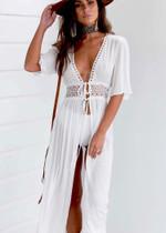 Solid White Hole Split Fairy Holiday Maxi Beach Bikini Cover up Long dress