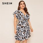 Plus Size Leopard Print Surplice Front Ruffle Hem Short Dress