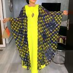 Vintage Yellow Spring Long Batwing Sleeve Casual Maxi Long Dress