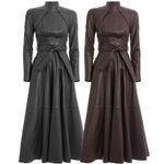 Runway Solid A Word Faux Leather PU Dress