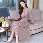 Vintage Striped Chiffon Long Sleeve Midi Dresses