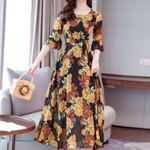 Plus Size  Floral Long Boho Half Sleeve Vintage Party Dresses