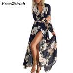 Floral Print Long Sleeve Boho Evening Party Long Maxi Dresses