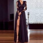 Sexy black lace Elegant Wedding Party V Neck Long Sleeve  Dress