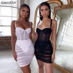 see through mesh Sexy  Sleeveless strapless Bodycon Dress