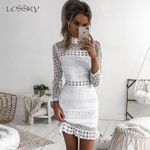 Sexy White Lace Stitching Hollow Out Party Dresses