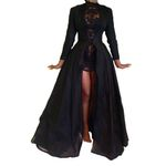 New High Quality Sexy Gothic Lace High Waist Sheer Jacket Long Dress
