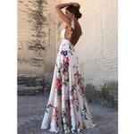 Sexy Floral Print Sleeveless V-Neck Backless Vintage Long Dress
