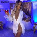 Elegant White Mesh Inserted Embellished Mini Dress