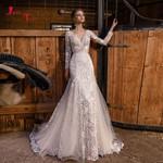 New Arrivals Wedding Long Sleeve Vestido De Noiva Sereia Open