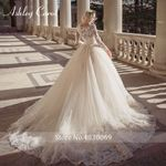 Carol Sexy Scoop Long Sleeve Beading Lace Ball Gown Wedding Dress