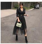 Sring fashion blazer suit collar long sleeve high waist  party dress