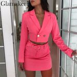 Two-piece suit solid buttons mini blazer ress bodycon  dress