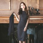 Cape Cardigan Blazer Two Piece Set Black Split Long Sleeve Jacket Dress