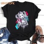 Classic vintage sexy Harley Quinn print t shirt